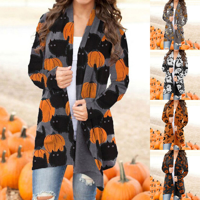 Fashion Cat Pumpkin Print Cardigan Blouse Autumn Winter Tops Female Women Long Sleeve Shirt Blusas Femininas Clothing Pullover 1