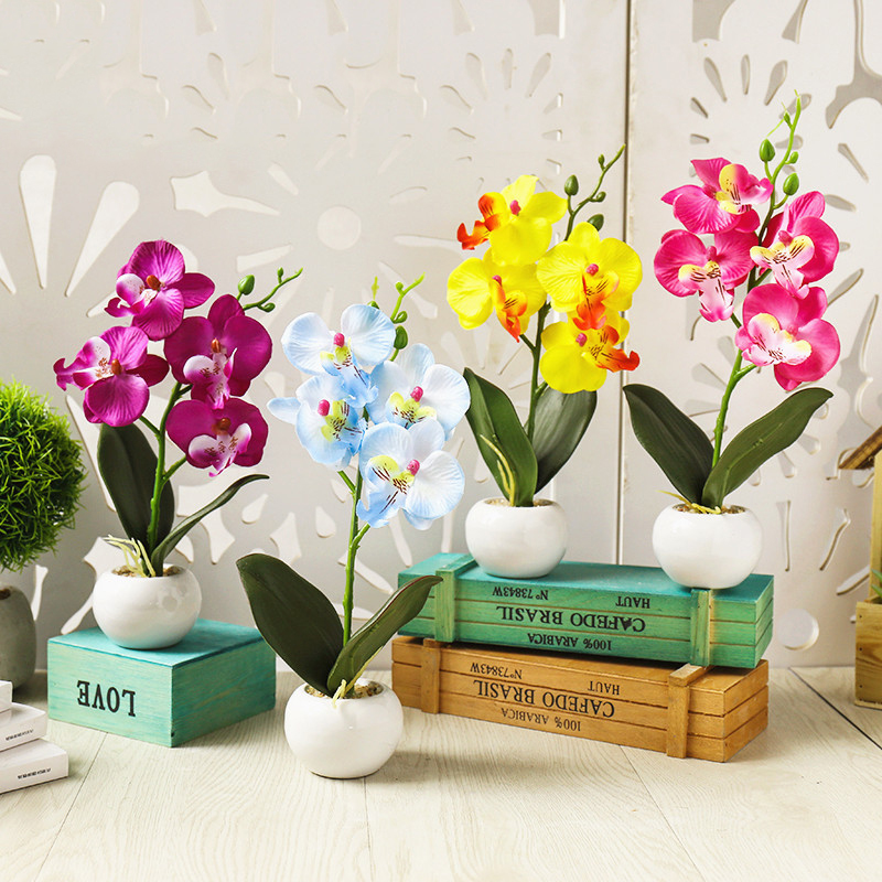 Artificial Butterfly Orchid Flower Fake Bonsai Potted Plant Home Wedding Decor