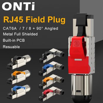ONTi Cat6A Cat7 Cat8 Industrial Ethernet Connector RJ45 Shielded Field Plug Tool Free Easy Metal Die-Cast Termination Conector 1
