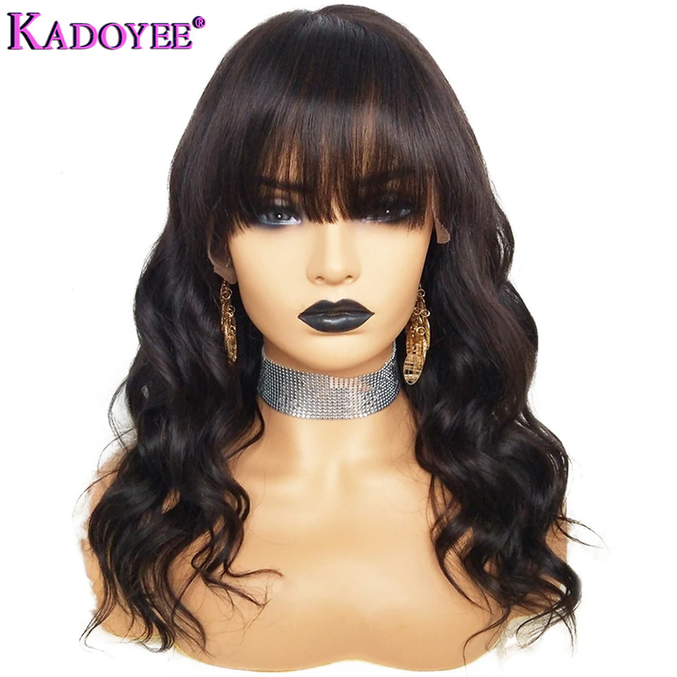 Body Wave Lace Front Human Hair Wig With Bangs Pre Plucked Brazilian Remy Hair Wig 13x4 Ear To Ear Front Lace Wig For Women