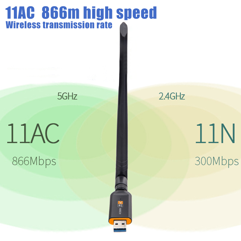 USB 3.0 1200Mbps Wifi Adapter Dual Band 5GHz 2.4Ghz 802.11AC Antenna Wifi Dongle Network Card VH99 image