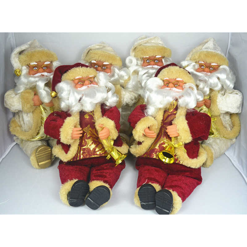 17cm Christmas Sitting Santa Claus Doll Xmas Figurine Home Room Decoration Decor