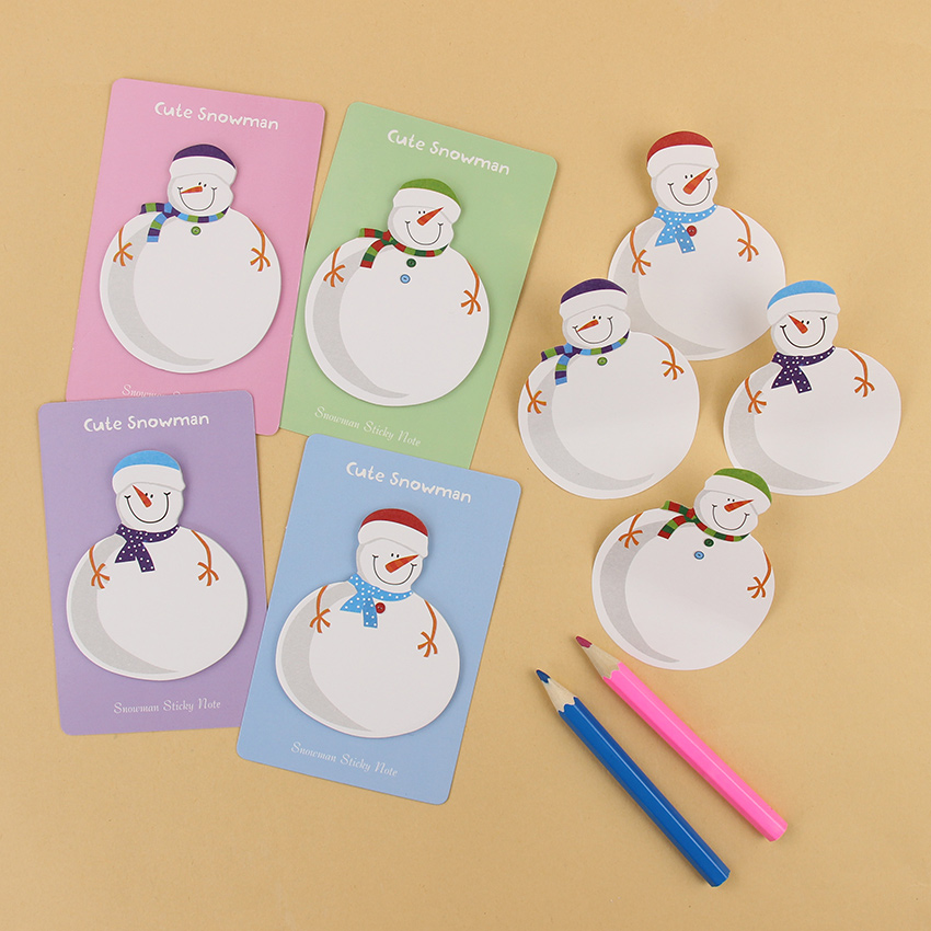 Korean Stationery Kawaii Snowman Memo Pad Paper Sticky Notes Stickers Planner Christmas Gift Decoration School Supplies 1PC