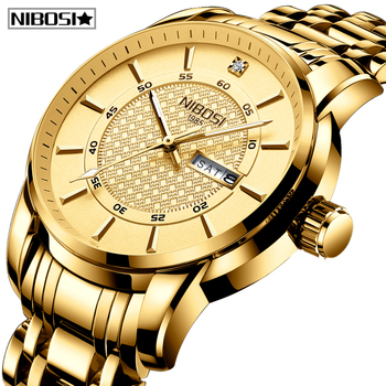 Relogio Masculino NIBOSI Sport Chronograph Mens Watches Top Brand Luxury Full Steel Quartz Clock Waterproof Big Dial Watch Men reef tiger brand chronograph sport watches for men dial skeleton fashion design luminous swiss quartz watch relogio masculino