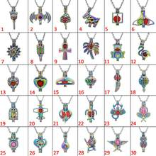 30pcs Mixed Rainbow Angel Baby Flower Frog Pearl Bead Cages Pendant Essential Oil Diffuser Locket Jewelry Necklace DIY(China)