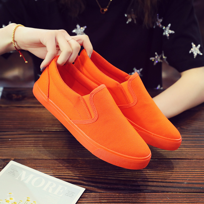 Boy Orange Shoes Slip On Loafers Men Canvas Shoes Solid Color Bright Color Cool Fashion Vulcanized Lovers Sneakers Men's Sports