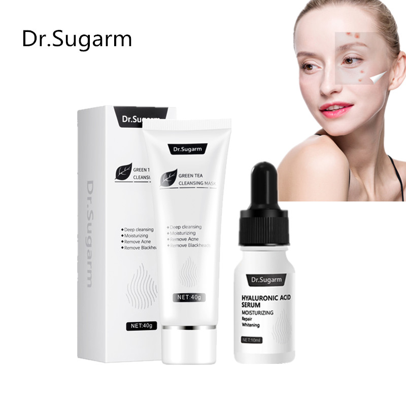 Dr.Sugarm Acne Treatment  Acne Mask Set Blackhead Remove Facial Mask+Hyaluronic Acid Moisturizing Control Shrink Pores Face Care