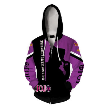Anime JoJo's Bizarre Adventure Jonathan Joestar cosplay costume 3D Zip Hoodie Unisex Casual Sweatshirt Jacket Uniform