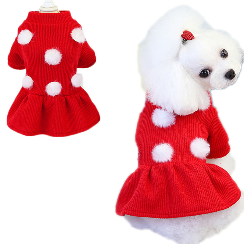 Winter Knitted Dog Clothes Warm Dress Hairball Short Sleeve Dog Coat Cat Sweater Dresses For Girls Pet Outfit Costume Clothing L