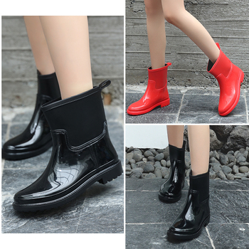 цена Shoes Woman Boots Women Rain Boots Women PVC Womens Boots Waterproof Ladies Ankle Short Boots Attached Handle онлайн в 2017 году