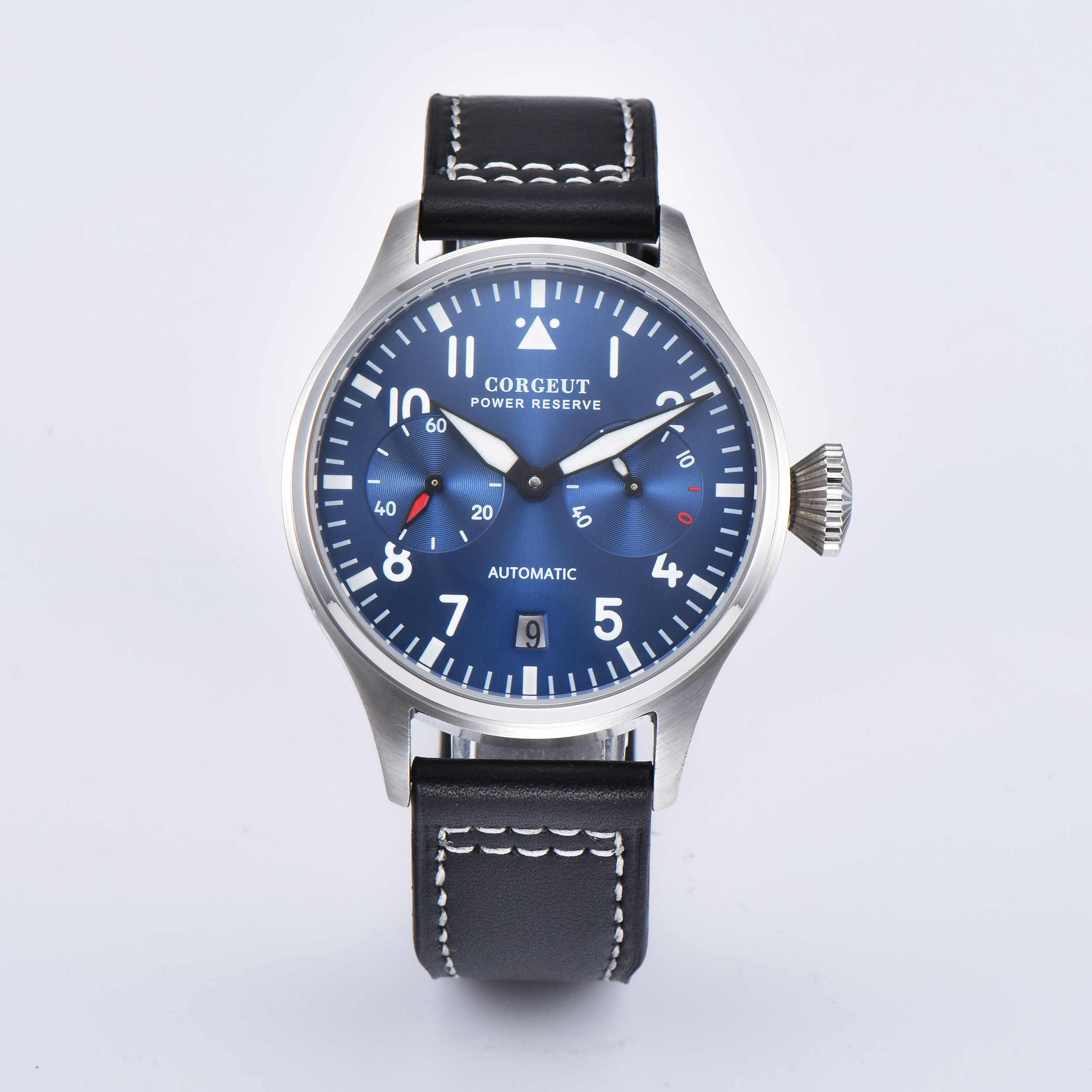 Corgeut 42mm Date Blue dial Power Reserve Window Leather Automaitc Men's Watch