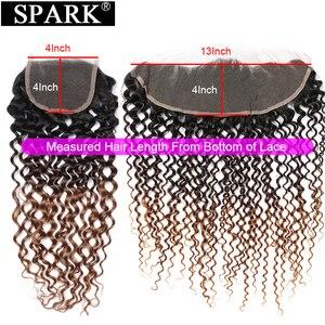 Image 3 - Kıvılcım Remy gölgeli insan saçı demetleri ile Frontal brezilyalı Afro Kinky kıvırcık saç insan saçı Frontal demetleri ile siyah kadınlar için