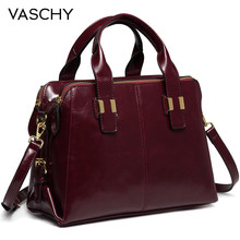 VASCHY Patent Leather Satchel Bag for Women Fashion Top Handle Handbag Work Tote Purse with Triple Compartments Briefcase