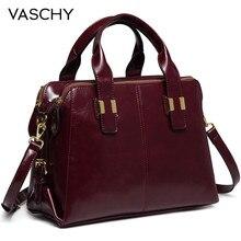 VASCHY skórzana teczka patentowa dla kobiet modny Top uchwyt torebki torba do pracy torebka z potrójnymi przegródkami teczka
