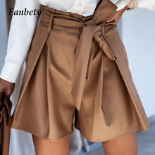 Office Lady Fashion Elegant Lace-Up Belted Short Summer Women Sexy Solid PU Leather High Waist Loose Short Casual Wide Leg Short
