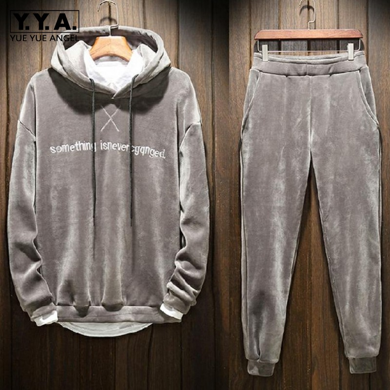 High Street Men Warm Thicken Sweatshirt Pullover Hooded Tracksuit Elastic Waist Pants Two Piece Set Autumn Winter Sport Suit