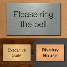 Custom Office Door Business Plaque House Number Sign Silver, Gold, Bronze Effect office sign custom made 2 tile address plaque in grey