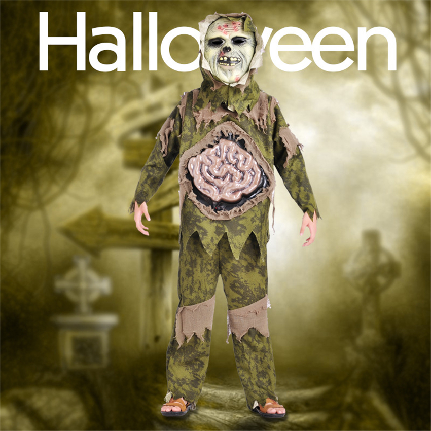 Children Halloween Costumes Scary Zombie Swamp Monster Cosplay Costume Kids Party Carnival Green Disgusting Clothing Headgear