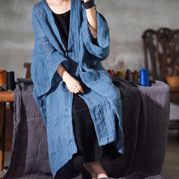 Johnature 2020 wiosna kobiety w stylu Vintage jednolity kolor długie trencze nowy przyczynowy luźny Patchwork długi rękaw sweter płaszcze tanie i dobre opinie Pełna JERSEY COTTON Linen Przycisk Kieszenie Stałe REGULAR V-neck Jednego przycisku Szeroki zwężone