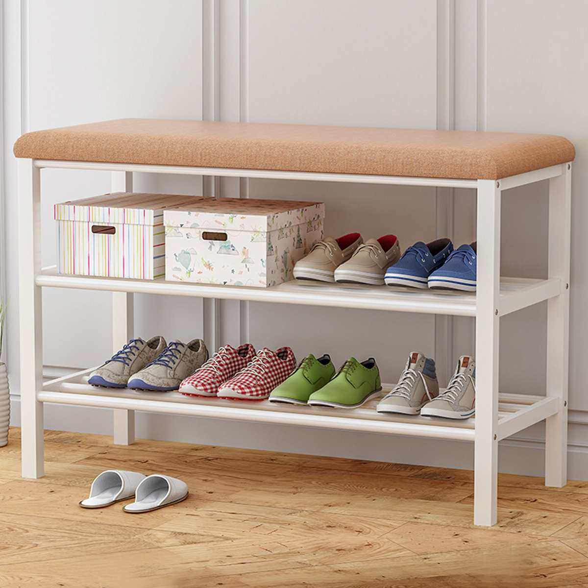 2 Tier Furniture Wood Shoe Bench Storage Stool Fabric Sofa Living Room Shoe Rack Shoe Organizer Cabinet Hallway Seat Chair Shelf