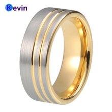 Желтое золото обручальное кольцо из карбида вольфрама удобное