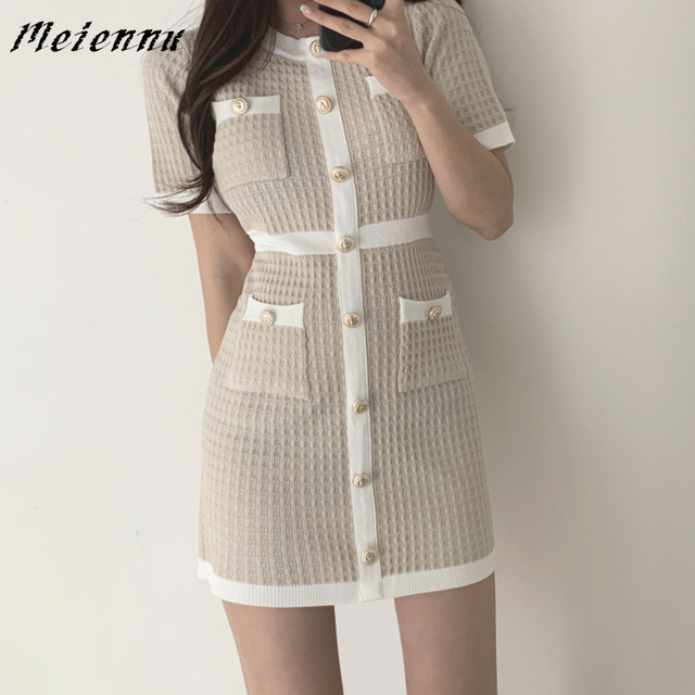 Button Knitted Dress Bodycon Mini Vestido club Korean Summer Sexy Party Elegant Black 2020 Casual Sweater Dress Robes Clothes 1