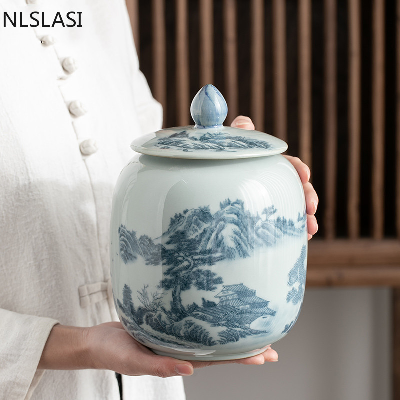 Large Capacity Ceramics Tea Caddy Landscape Pattern Portable Sealed Jar Tieguanyin Containers Travel Tea Boxes Storage Tank