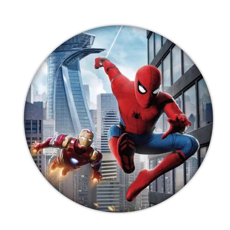1 Pcs Peter Parker Ikon Plastik Lencana Lucu Marvel Avengers Pahlawan Bros Pin untuk Dekorasi Di Ransel Pakaian Syal Anak-anak hadiah