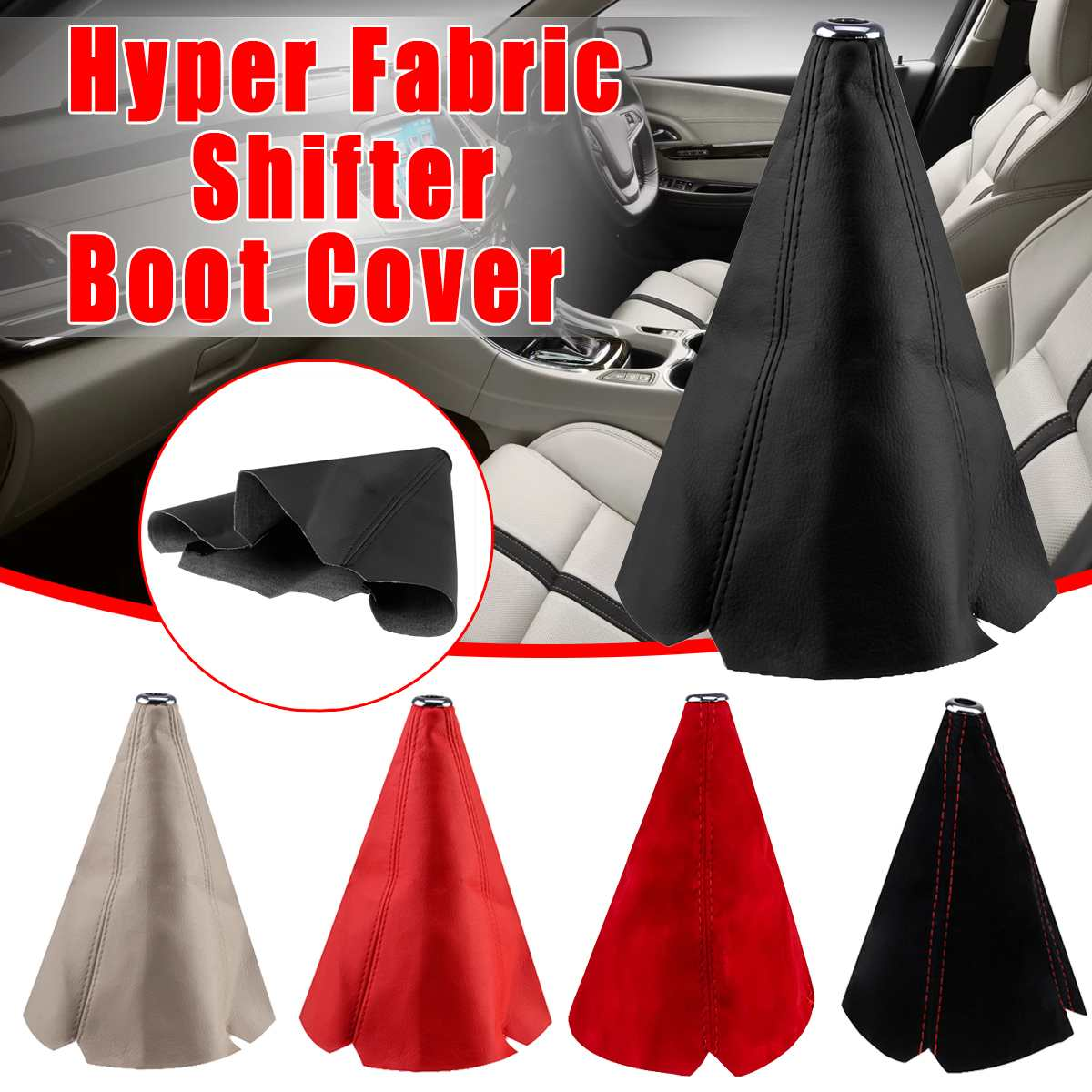Universal PU Leather / Flannel Gear Shift Collars Car Hyper Fabric Gear Shift Knob Lever Stick Collar Gaiter Boot Cover