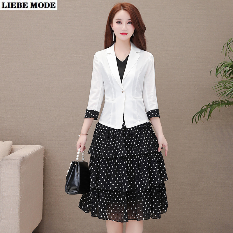 Ladies Office Wear Blazer Dress Suits for Women Short Blazer and Polka Dot Print Knee Length Dresses Womens Casual 2 Pieces Set