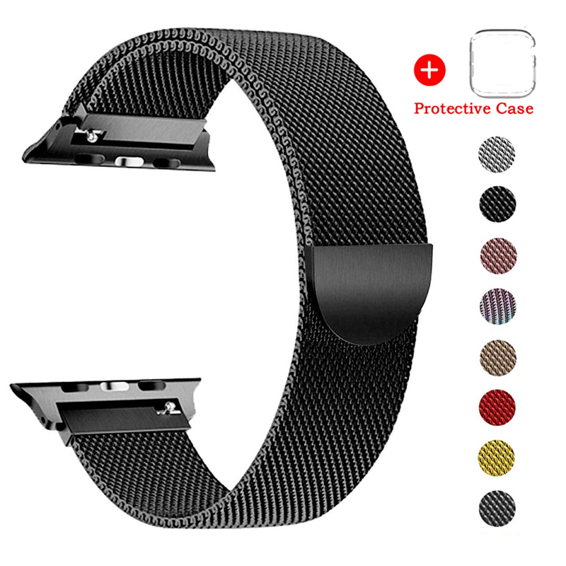 Milanese Loop Stainless Steel Strap For Apple Watch Band Series 5 4 3 2 1Bracelet Apple Watch Case Iwatch Screen Protection Film