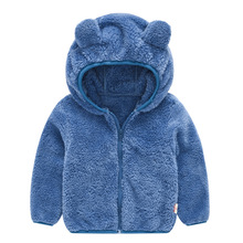 New Baby Bear Ear Coat Cute Fluff Jacket Baby Boys Girls Solid Color Hoodie Toddler Keep Warm Outerwear Children Clothes 18M-5T недорого