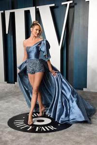 Image 4 - 오스카 2020 Candice Swanepoel 연예인 레드 카펫 바지 높은 낮은 하나의 어깨 공식적인 가운 이브닝 드레스