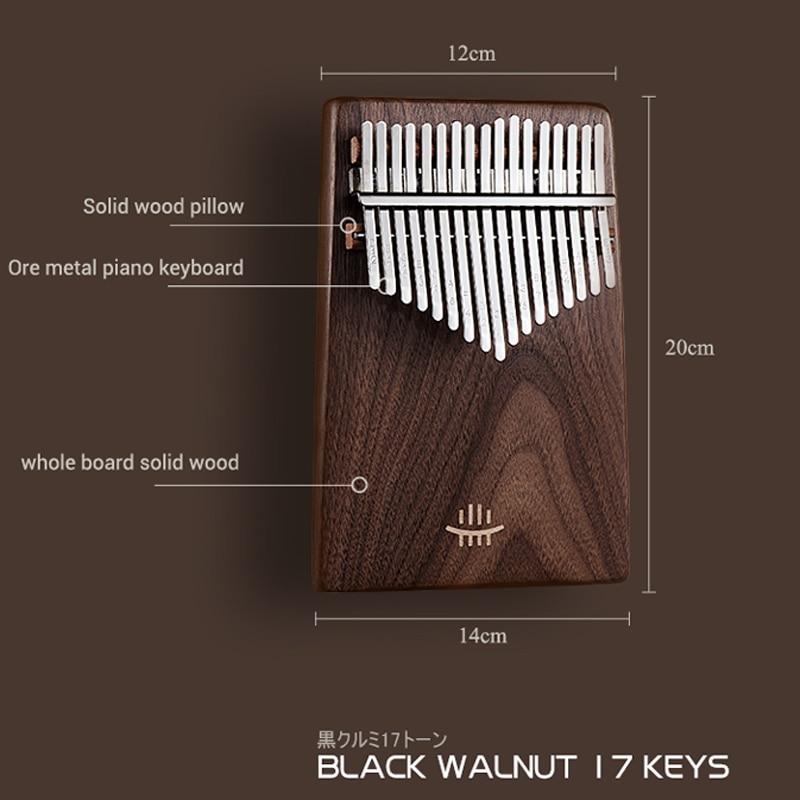 Noz preta kalimba 17 teclado chave hluru