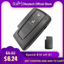 OkeyTech 2 버튼 교체 원격 키 쉘 포브 도요타 프리우스 Corolla Verso 스마트 카드 No Blade 커버 케이스