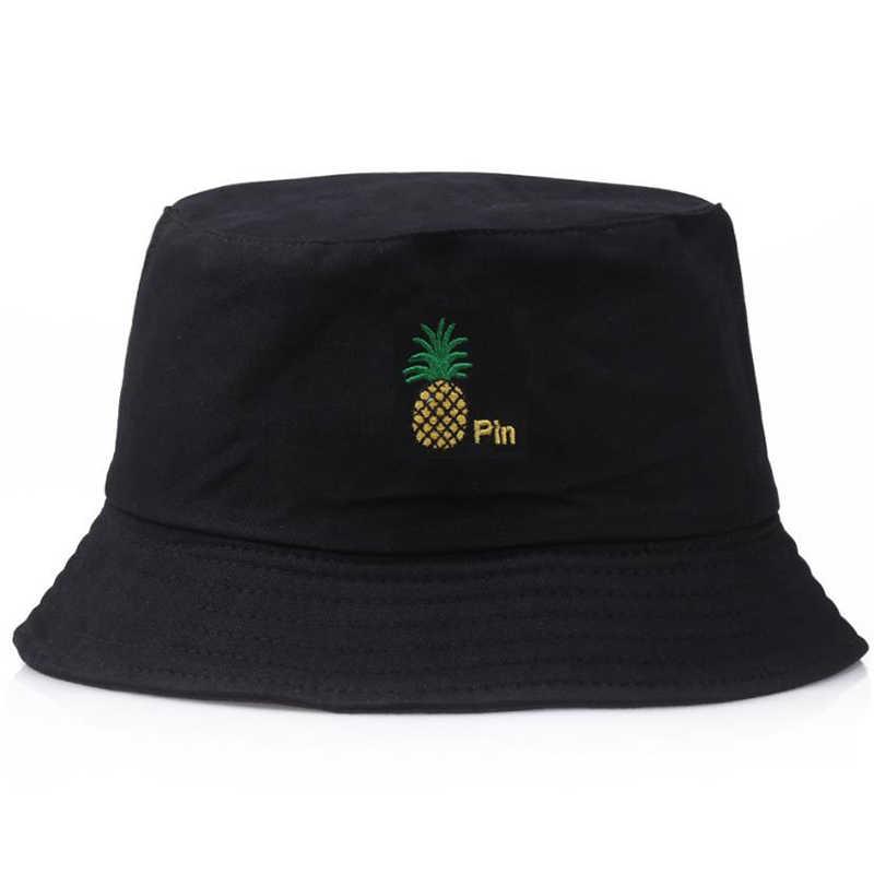 Casual  Men Women Pineapple Bucket Hat Hip Hop Fisherman Panama Hats Embroidery Cotton Outdoor Summer  Bob Visor Bucket Cap