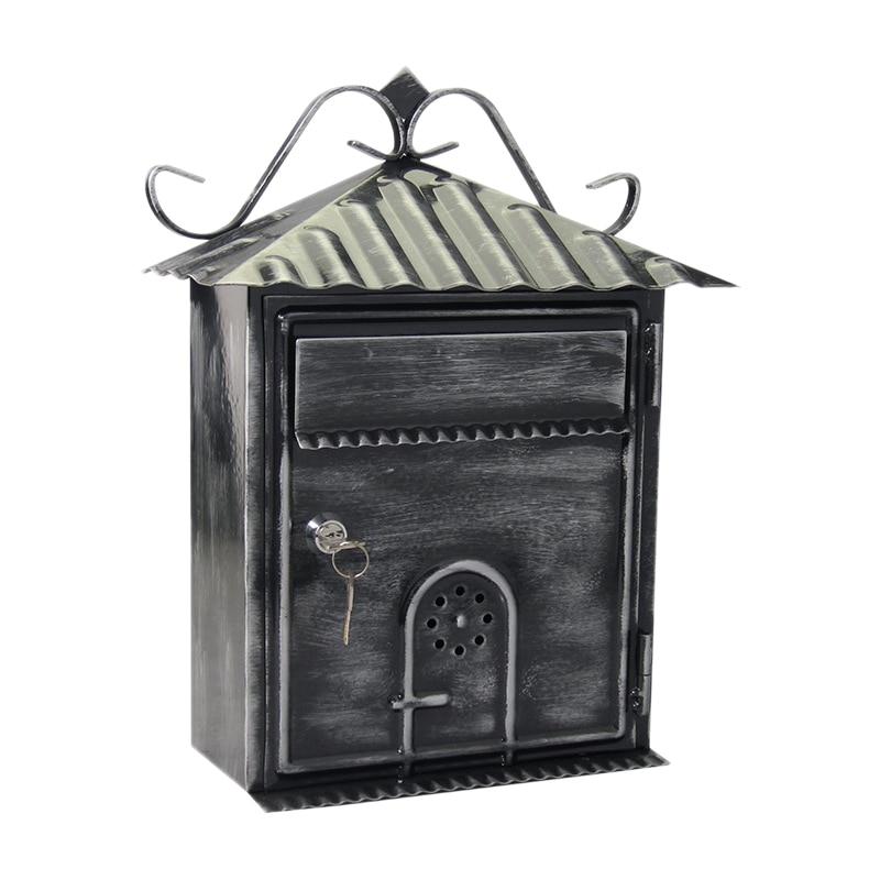 Letter Box, Metal Letter Box Retro Black Vertical Lockable Mailbox, Anti-Rust ,Photography Props Fresco Wedding Bar Cafe Home De