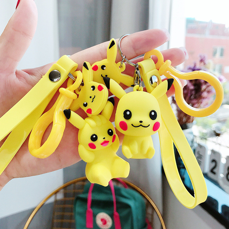 Cartoon Cute Japanese Anime Pikachu Keychain Pocket Monsters Key Ring Holder Pokemon Go Pendant Kid Toys Key Chains Bag Charms