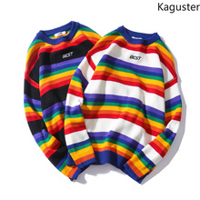 Kaguster Autumn Winter Women Mens Rainbow Striped sweaters plus size oversized Pullovers clothes Vintage casual couples sweater