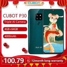 Cubot P30 Smartphone 6.3″ Waterdrop Screen 2340x1080p 4GB+64GB Android 9.0 Pie Helio P23 AI Rear Triple Cameras Face ID 4000mAh