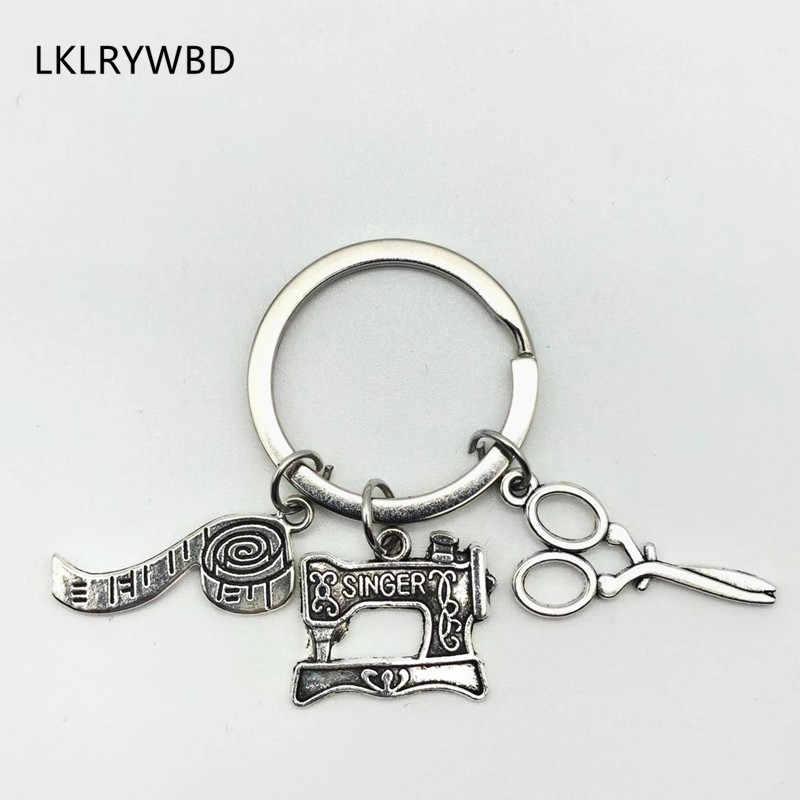 LKLRYWBD 2019/Creative จักรเย็บผ้า Key แหวนวัด Key Chain กรรไกร Key แหวนผู้ชายและผู้หญิงความหมาย Key โซ่
