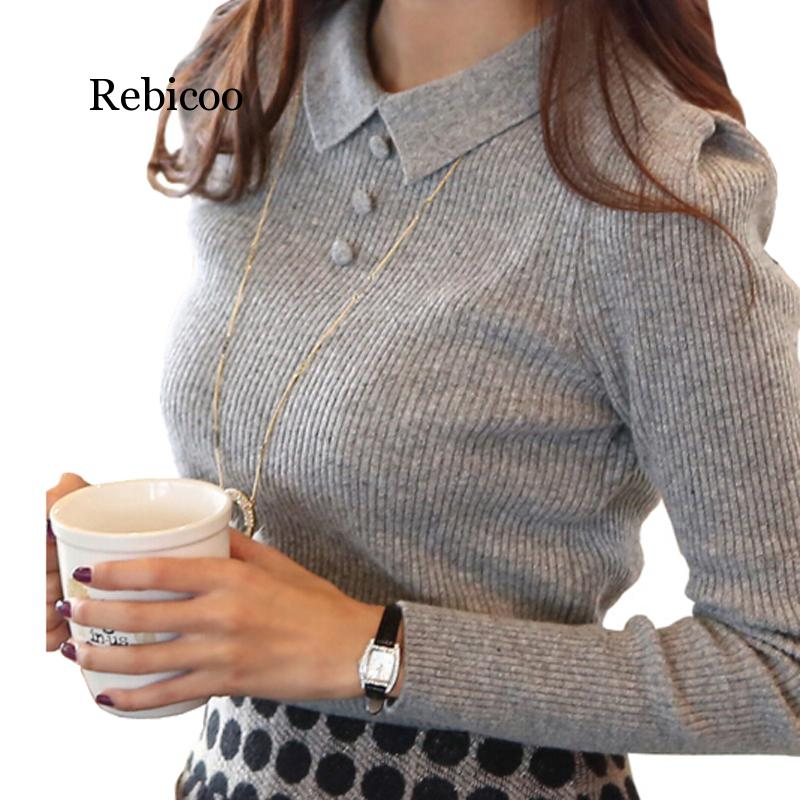 Women Sweater  New Fashion Casual Spring Autumn Women Solid Color Buttons Work Office Pullover Slim Knitted