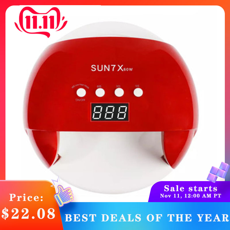 SUN 7X 60W UV LED Light Phototherapy Machine Automatic Induction Nail Dryer Cure All Gel Polished Manicure Fingers