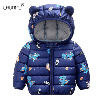 Hooded Baby Coat with Dinos Print and Bear Ears 1