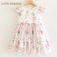 LOVE DD & MM Girls sukienki 2020 nowe ubrania dla dzieci dziewczyny słodki kołnierzyk dla lalek szwy róża z kokardą, z nadrukiem piękna wygodna sukienka