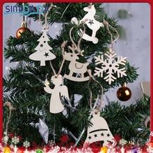 10PCS Snow Elk Angel Wooden Pendants Ornaments Christmas Party Decorations Christmas Tree DIY Decoration