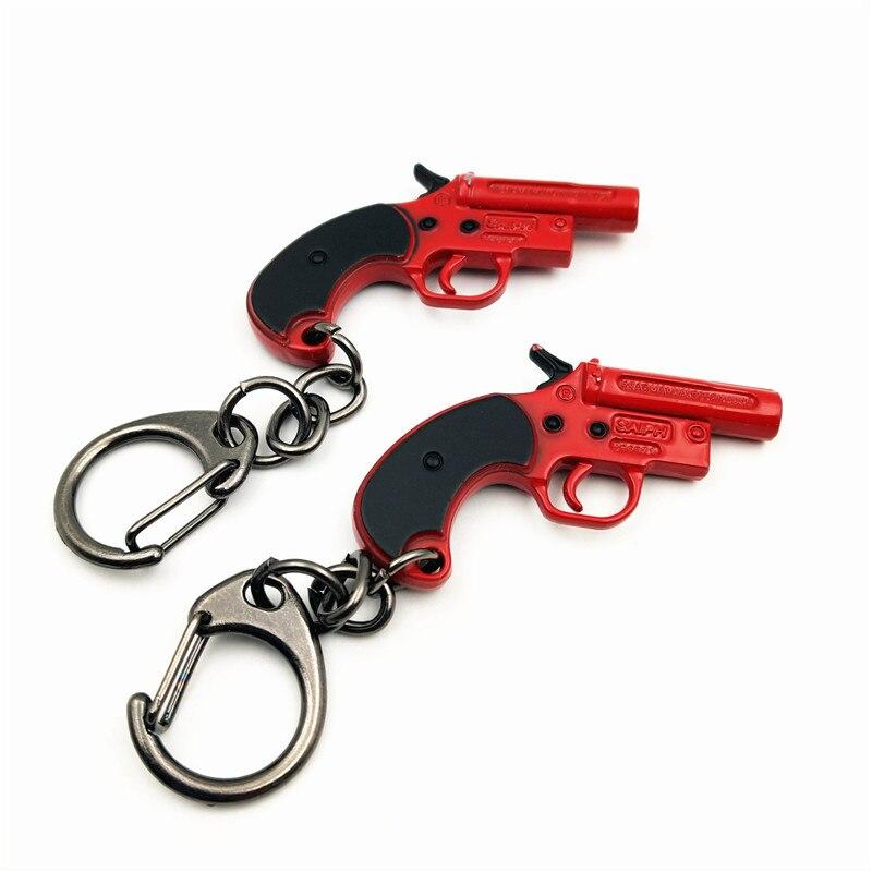Game Playerunknown's Battlegrounds PUBG Keychain Revolver Flare Gun Mini Keychain Red Metal Pendant Mens Llaveros Jewelry Toys