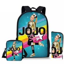 ThiKin 3pcs/set School Bag Set Superstar JOJO Siwa Girl Backpack Custom Schoolbags for Teenage Boys Students Back