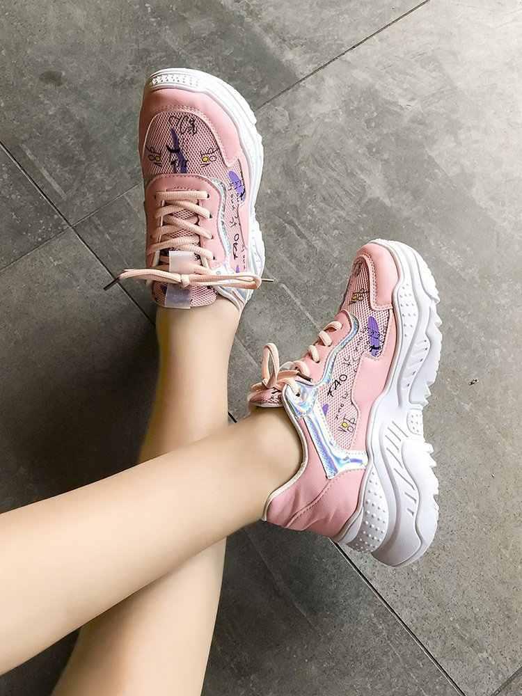 Fujin Scarpe Da Tennis Della Piattaforma 2020 Nero Bianco Giallo Rosa Scarpe Vulcanizzate Femminile di Autunno della Molla Delle Donne Casual Scarpe Da Ginnastica