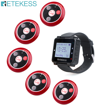 Retekess Call Waiter Hookah Button Wireless Calling System Restaurant Pager Watch Receiver+5 Call Buttons Customer Service customer service paging call calling system for pub bars 1pc numeric monitor and 5 call bells